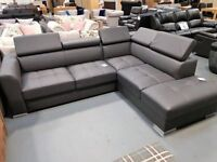 Brand New Grey Leather Corner Sofa Bed With Storage. Right Handed. L260cm By 220cm, D95cm.