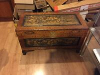 ANTIQUE CARVED WOODEN CHEST TRUNK CHINESE?