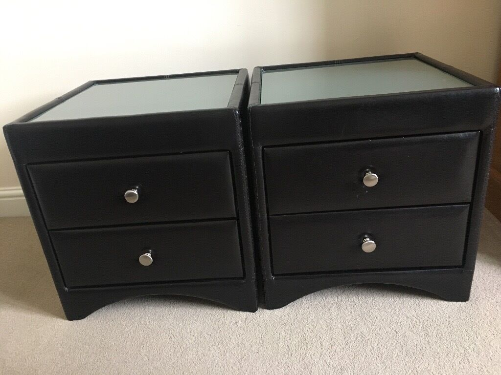 2 X Brown Othello Faux Leather Bedside Tables With Gl Top