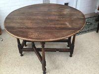 Antique oval drop leaf gate leg table 17th century probably oak