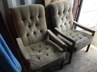 A GREAT LOOKING PAIR OF VINTAGE/ANTIQUE TEAK AND FABRIC FIRE SIDE CHAIRS NICE PRE-LOVED CONDITION