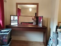 Lovely dark wood dressing table with mirror there a draw you can put makeup jewellery ext