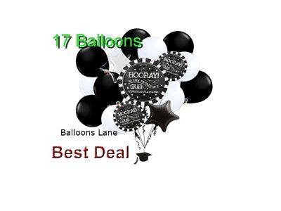 17pc GRADUATION BALLOONS BOUQUET ( 5 Mylar & 12 Latex ) Congrats centerpiece (12 Mylar Balloon Bouquet)