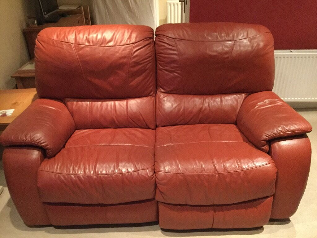 2 x Reclining leather sofa