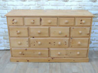 Country pine Waxed chest Merchant multi drawers (Delivery)