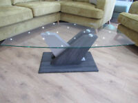 Brand New Ex display coffee table in Dark Grey wood & Champagne high gloss base with clear glass top