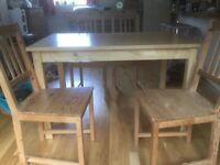 Beech table 4 Pine chairs