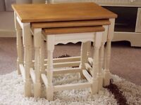 SHABBY CHIC NEST OF TABLES PAINTED IN ANNIE SLOAN OLD OCHRE (CREAM)