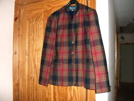 """Collarless """"Menarii"""" checked red and navy wool jacket. Size 14. Extremely good condition."""