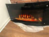 Electric wall fire heater