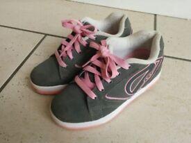 Pink and Grey Heelys - size 3 (UK) 35 (EUR)