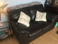 Chocolate leather deep cushioned sofa- gorgeous