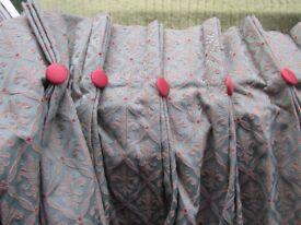 "Large Bespoke Fully Lined Pleated Curtain Green Fleur de Lys 106"" long x 54"" w"