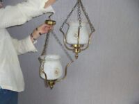 Two lounge / hall ceiling lights. Brass & patterned glass. Antique looking.
