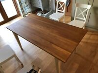 Handmade Solid Oak dining table with cream painted legs.
