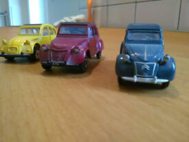 Citroen 2CV model cars 1:54 scale; job lot of three.