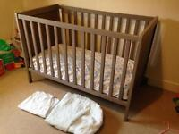 Ikea Grey Brown Sundvik Cot Bed & Mattress, Protector, Fitted Sheets