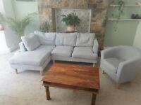 Grey corner sofa with armchair and 6 cushions