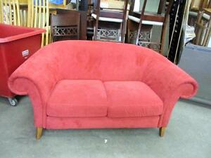 Hot Pink Suede Loveseat - Used