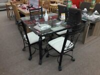 Black Metal/Glass Dining Table + 4 Chairs