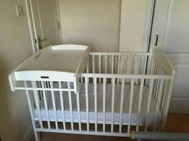 Mamas and Papas cot bed with top cot changer