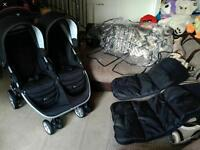BRITAX B-AGILE DOUBLE BUGGY PUSHCHAIR WITH EXTRAS CAN POST