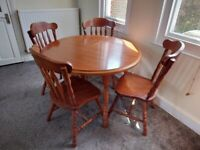 Solid Wood Extending Dining Table + 4 Chairs