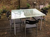 Metal/Glass Dining Table + 4 Matching Chairs, COLLECTION ONLY