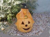 Halloween decoration- large ceramic witch on a pumpkin - lantern, outdoor/indoor
