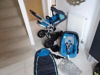 QUINNY BUZZ BLUE LIMITED EDITION PUSHCHAIR WITH CAR SEAT AND ACCESSORIES EXCELLENT CONDITION!