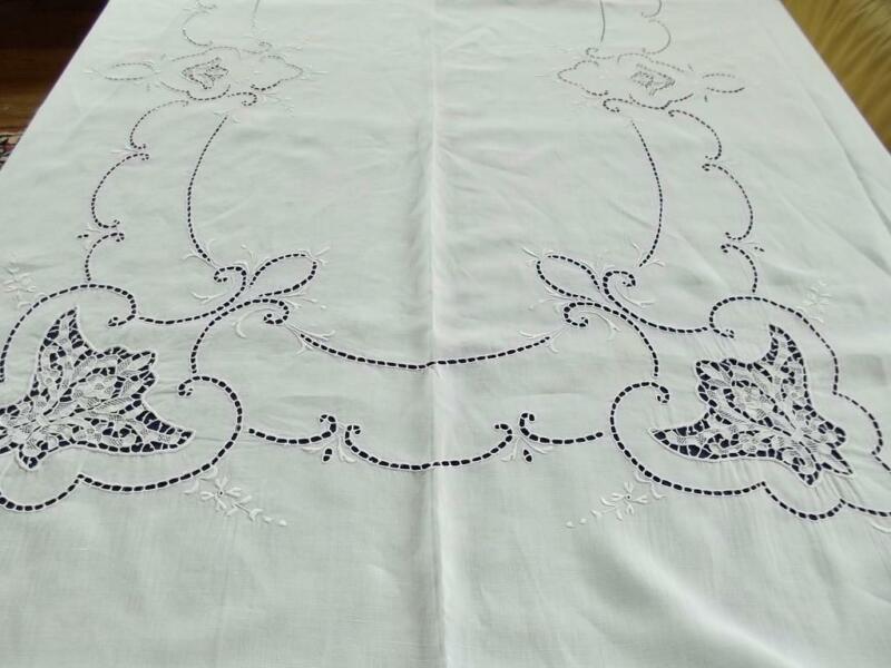 Antique Italian Linen 68x106 Banquet Tablecloth Point de Venise Lace Embroidery