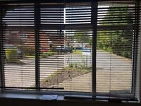 """Two dark brown wooden blinds perfect condition. 5mm slats. Solid. Width 55"""" drop 76"""""""