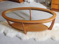 Nathan Glass Top Oval Coffee Table in teak.