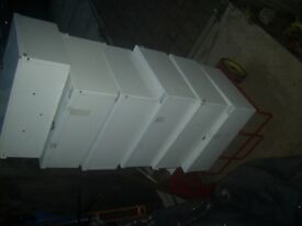 Metal white lockable box cabinets/cupboadrs x 6