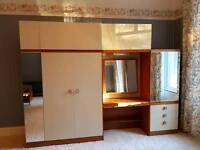Retro 1960s Wardrobe and chest of drawers unit.