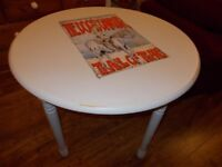 Dogs D'amour motif shabby chic grey dinning table height 75cm x diameter 92cm
