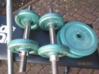 Weightlifting equipment for sale. Bench, dumbells, barbell, weights and waist belts