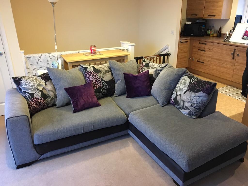 Corner Sofa Excellent Condition Grey Black Purple Fl