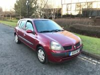 Renault Clio 1.2 expression + 2002, Very low mileage *67000*, 3 months MOT, HPI clear