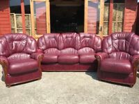 Oxblood Leather Suite Italian Style 3 Seater Sofa & 2 Armchairs - Delivery Available