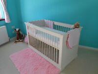 cotbed/ baby girl bumper/mattress/toddler duvet and pillow & duvet cover