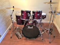 Complete Pearl Forum Drum Kit + Extra Cymbal, All Stands, Remo Heads - Excellent