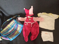 2 Dolls clothes sets, play changing bags and hand bags