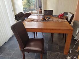 Square Cherry Wood Dining Table & Chairs