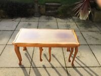 Yew set of 3 glass topped, coffee tables - compact as 2 tables can be stored underneath