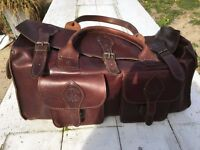 100% Genuine Leather Holdall - Dark Brown Rugged, Hard Wearing, Hand Made