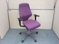 2 MAUVE & 5 LILAC ORANGEBOX Ltd GIROFLEX 64-7578 MULTI-FUNCTION OFFICE TASK CHAIRS for desks etc