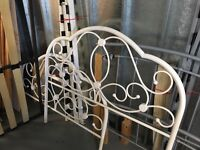 WHITE COATED METAL BEAUTIFUL 4' BED FRAME