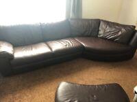 Brown IKEA faux leather sofa
