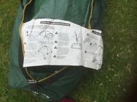 Tent: sleeps 2/3. Dome with extension. Eurohike Adventure 200. Dk green. Excellent condition
